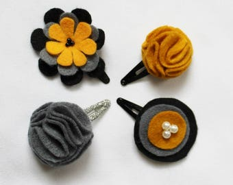 Set of 4 Grey and Mustard Clips - Mustard and Gray Baby Hair Clips  - Hair Bow - Hair Clip - Felt Hairclip for Babies and Toddlers