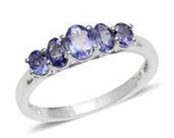 tanzanite platinum over sterling silver 5 stone ring size 80 tgw 1450 cts - Tanzanite Wedding Rings