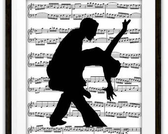 SALE Salsa Dancers Silhouette Music Book Page Wall Art Print, Home & Living, Home Decor, Gift Ideas, Ballroom Dancers, Dancer Gift