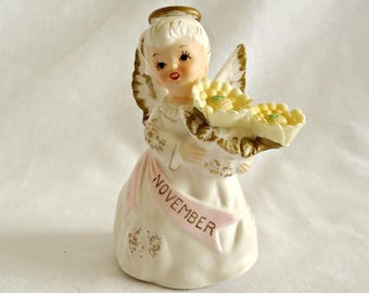 Vintage Lefton Birthday Figurine November Angel 1970's