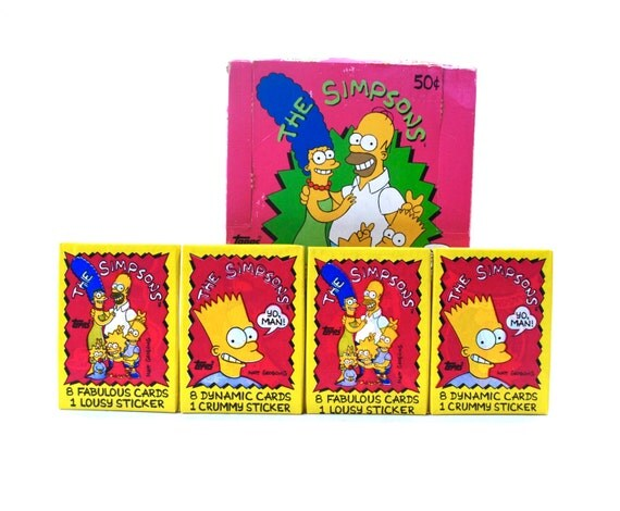 4 Simpsons Trading Card Packs Topps 1990