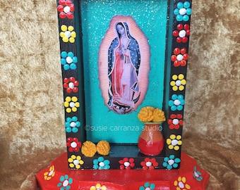 Virgen de Guadalupe nicho. Religious art, Mexican folk art.