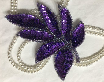 Beaded Sequins LEAF  Applique in PURPLE