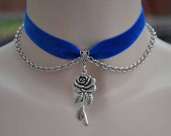 ROSE Charm & CHAIN Velvet Royal BLUE Ribbon Choker  - si... or choose another colour velvet from a wide choice, hand made to size :)