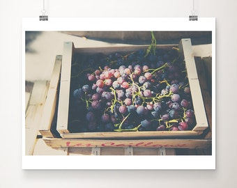 grapes photograph kitchen wall art food photography grapes print fruit photograph french market photograph french market print