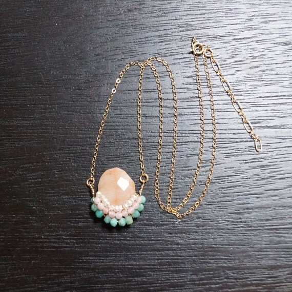 Small gemstone pendant necklace - peach pink