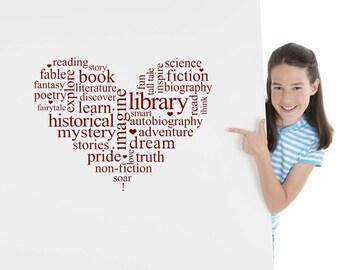 Word Cloud, Children, Kids, Read, Reading, Book, Library, School, Novel, Girl, Boy, Vinyl Decal, Genre, Learning Sticker, Daycare, Preschool