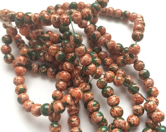 100 Mottled Glass Beads, Brown Green Round Mottled Beads, Wholesale Glass Beads 4mm G 50 046