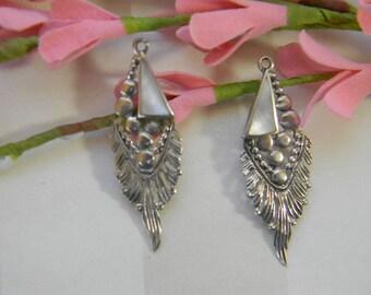 Pair of Vintage Sterling Mother Of Pearl Earring Drops