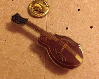 Vintage bass guitar fender gibson lapel pin button 80s
