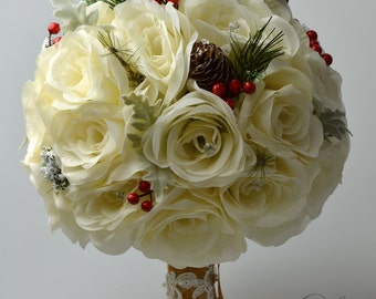 """17 Piece Package Wedding Bridal Bouquet Silk Flowers Bouquets Bride GOLD RED IVORY Jewels Pine Cones Winter X-Mas """"Lily of Angeles"""" IVRE04"""