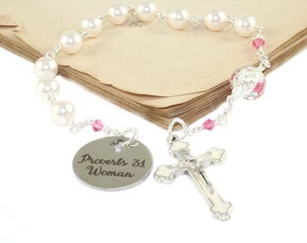Proverbs 31 Chaplet Rosary - Woman's Tenner - White Swarovski Pearls