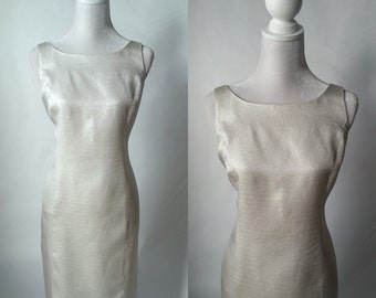 Retro Silver Scoop Back Party Dress, Medium to Large Size