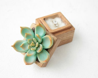 Blue Green Succulent Ring Box Bearer Case Wood Round Decorated Engagement Ring Holder Proposal Ring Case Gift Home Decor Wedding