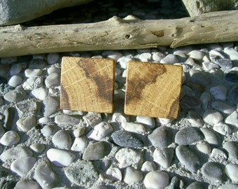 WOODEN CUFFLINKS Square Spalted OAK Handcrafted Wooden Cufflinks