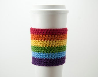 Rainbow Cozy, cup cozy, coffee cozy, cup sleeve, crochet rainbow color, 50% of all sales donated to Human Rights Campaign, HRC, LGBTQ pride