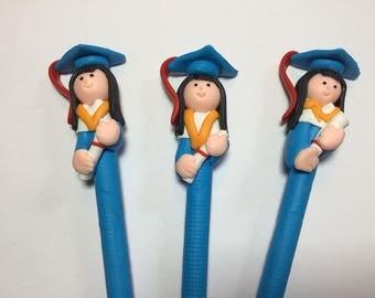 New Cute Polymer Fimo Clay Blue Graduation Girl Pen