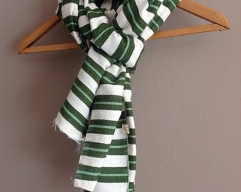 Green Wool scarf- Men Women olive green & mint Stripe Scarf- Green jade mint White Stripe Handwoven Ethiopian stole scarf- Birthday gift