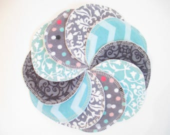 Cloth Nursing Pads--5 Pairs--Creamy Mint and Soothing Gray Mix--Fleece/ZorbII/Flannel--Ready to Ship