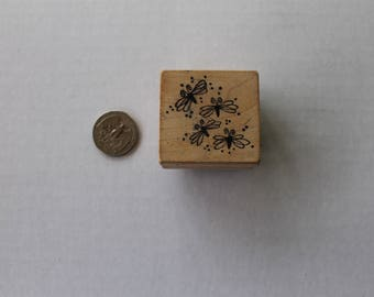 Dragonfly Bee Bug Wooden Rubber Stamp