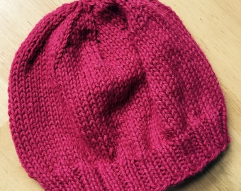 Hand Knit Hot Pink Hat, Seamless, Machine Washable, Soft Wool Blend, 2-4 years