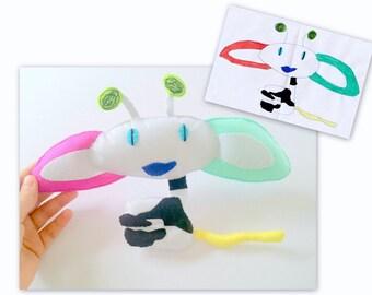 Gift for Kids, Custom Toy from Kids Drawing, Gift Ideas, Plush Felt Toy, Gift for Mom, Kids Art Present, Felt Panda Bear Butterfly Head