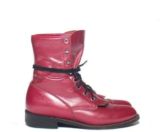40% off SALE 6 B | Women's Metallic Pink Justin Roper Boots Lace Up Fringe Kiltie Ankle Boots