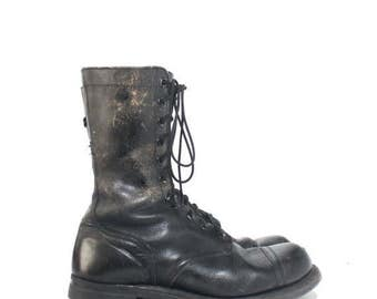 SALE 10.5 W | Vintage 1960's Cap Toe Jump Boots Black Military Combat Boots Dated 1961