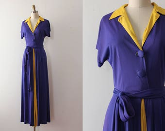 vintage 1940s dress // 40s purple rayon jersey gown
