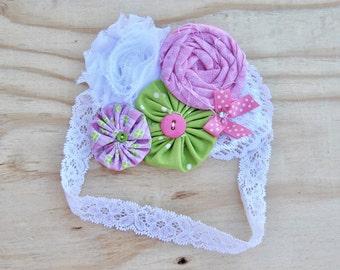 Girls headband, Rosette and Yo-yo flower headband, Baby Fabri headband, Girls lace headband, Rosette flower headband, White lace