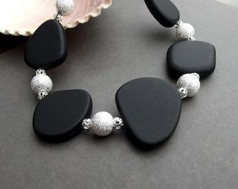 Bold Black Bracelet:  Geometric Sea Glass Bracelet, Black and Silver Sparkle Holiday Jewelry, Lumps of Coal Modern Chunky Bracelet Plus Size
