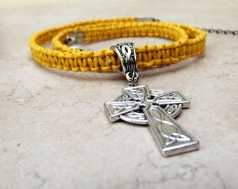 Mustard Yellow Macrame Necklace:  Silver Celtic Cross Hemp Cord Men's Unisex Jewelry, Inspirational Gift