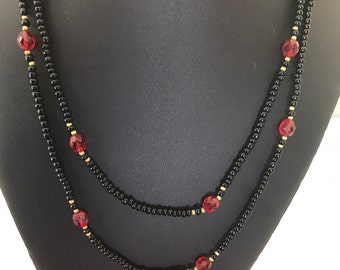 Beautiful Long Vintage Faceted Black and Red and Gold Bead Necklace