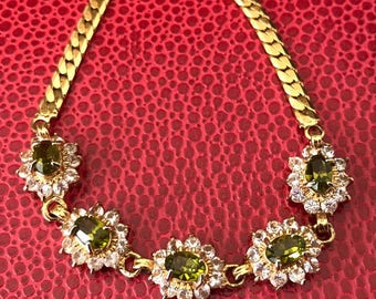 Lady Di Style Decorative Gold Plated Bracelet With Peridot Green and Clear Rhinestones