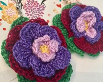 Lovely Flower Earrings / Crochet Thread Flower Earrings