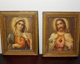 Jesus and Mary Framed Prints Wooden Frames Gold Tinted The Art Pub Co Vintage Framed Prints