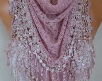 ON SALE --- Knitted Lace Scarf Shawl Cowl Oversized Bridesmaid Bridal Accessories Gift Ideas For Her Women Fashion Accessories Mother Day Gi