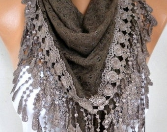 ON SALE --- Knitted Scarf Shawl Cowl Lace Oversized Wrap Bridesmaid Gift Bridal Accessories Gift Ideas For Her Women Fashion Accessories Sca
