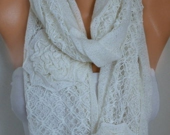ON SALE --- Creamy White Floral Scarf Spring Summer Scarf Shawl Oversized Wrap Bridesmaid Gift Ideas For Her Women Fashion Accessories Mothe