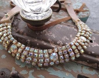 Antique rhinestone leather choker necklace - MARILYN - casual statement bohemian boho by slashKnots