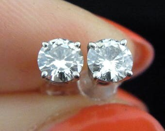Vintage 0.70ct Diamond 14k White Gold Stud Earrings Estate