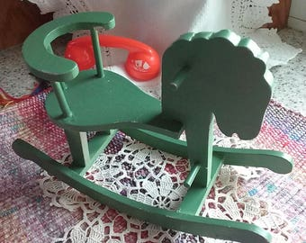 Wooden Toy Rocking Hobby Horse, Doll Size, Collectible Toy,