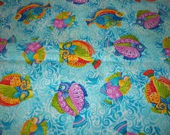 Jewel of The Sea Fabric Colorful Fish By The Fat Quarter New BTFQ