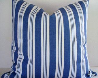 Blue Stripe Pillow Blue Cottage Pillow Chambray Blue Farmhouse Pillow Cover Cottage Stripe Pillow 0
