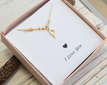 Gold Arrow and Heart Necklace on I Love You Sentiment Card