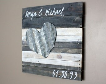 "24"" Personalized Couple's Name Sign. Gray and white washed wood. Wedding Gift. Anniversary Gift. Customize. Wood and metal. Rustic Modern."