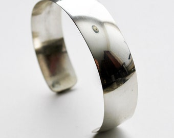 Modern Low Dome Classic Solid Sterling Silver Cuff Bracelet