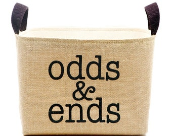 Odds & Ends Burlap Storage Basket