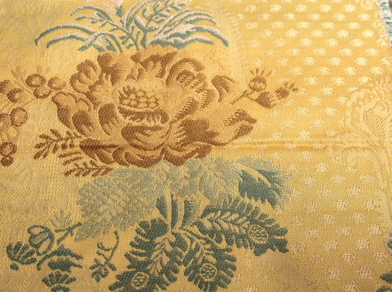"""Vintage Gold Flower Jaquard Fabric,Upholstery Fabric,Home Decor Fabric,Gold Floral Fabric,Reproduction Fabric,END OF BOLT 1 Yard by 56"""" Wide"""