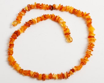 New genuine Baltic Amber beaded necklace,  yellow Baltic amber chip beads 17 inch (1)